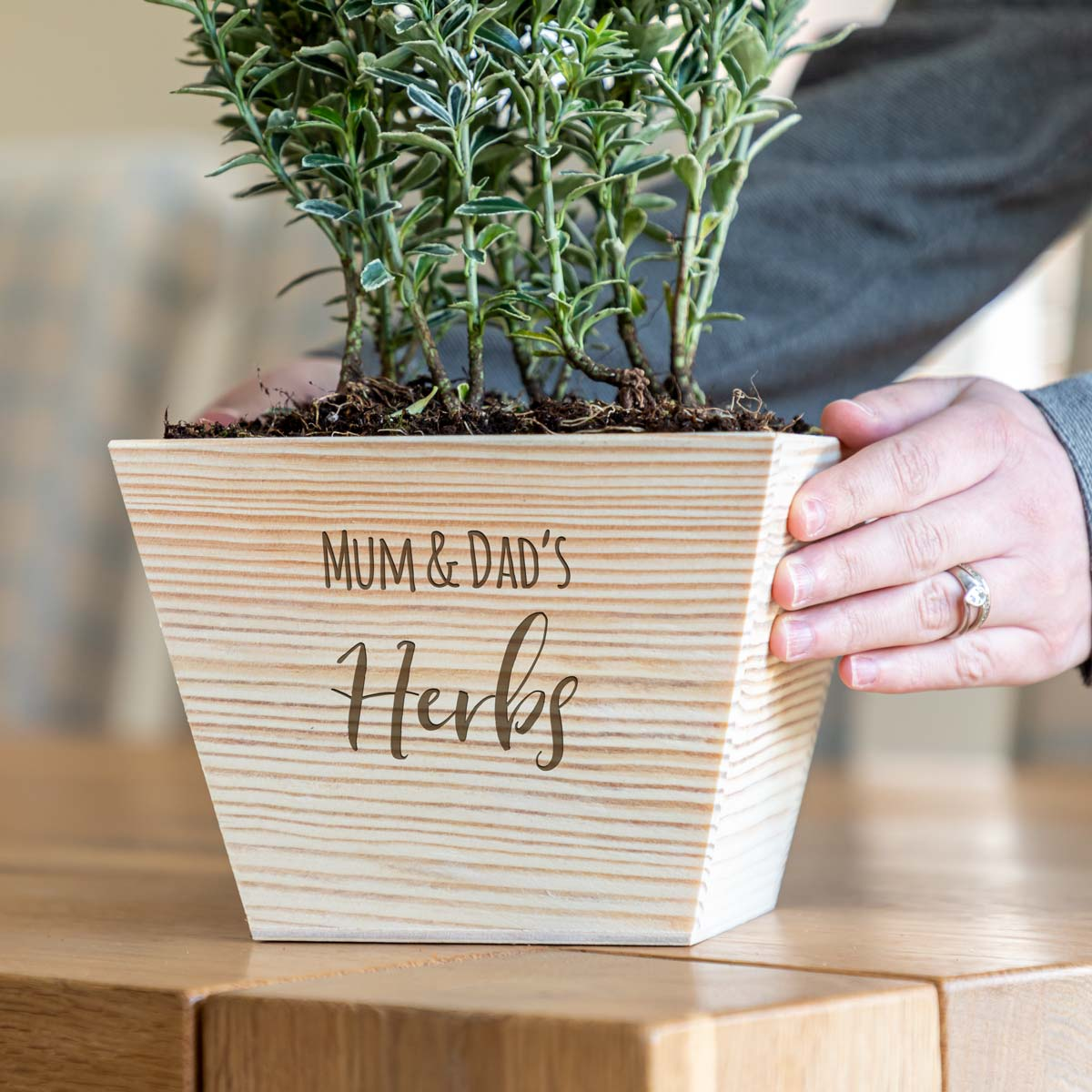 Personalised Herb Garden Wooden Planter