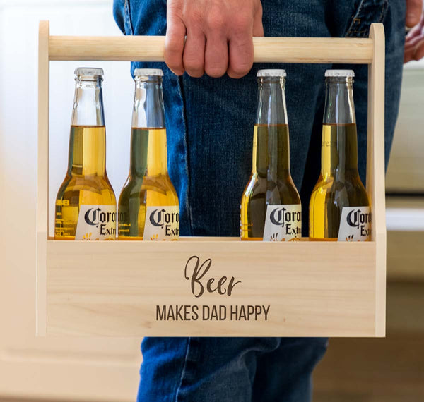 Personalised Beer Makes Me Happy Beer Holder