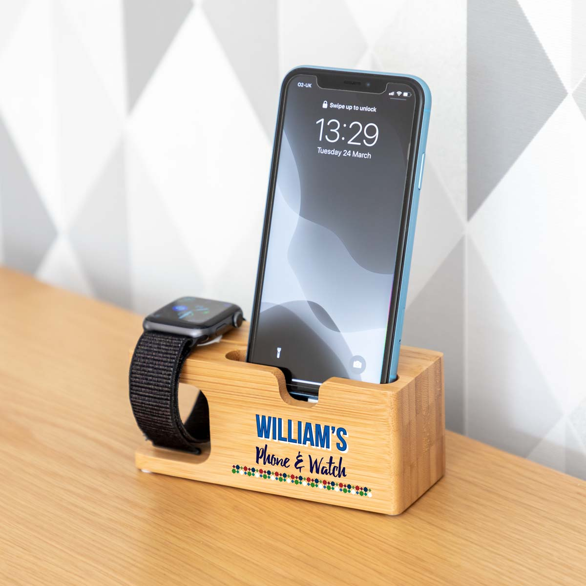 Personalised Charging Stand For iPhone and Apple Watch