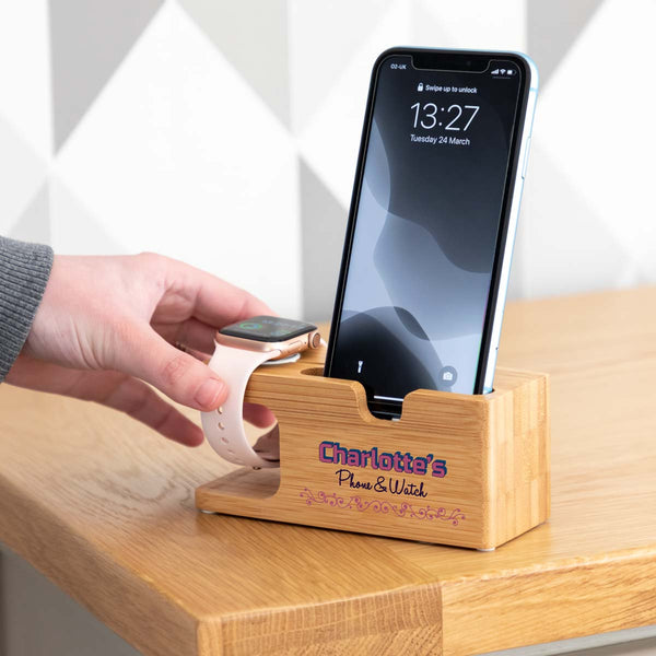 Personalised iPhone and Apple Watch Charging Stand