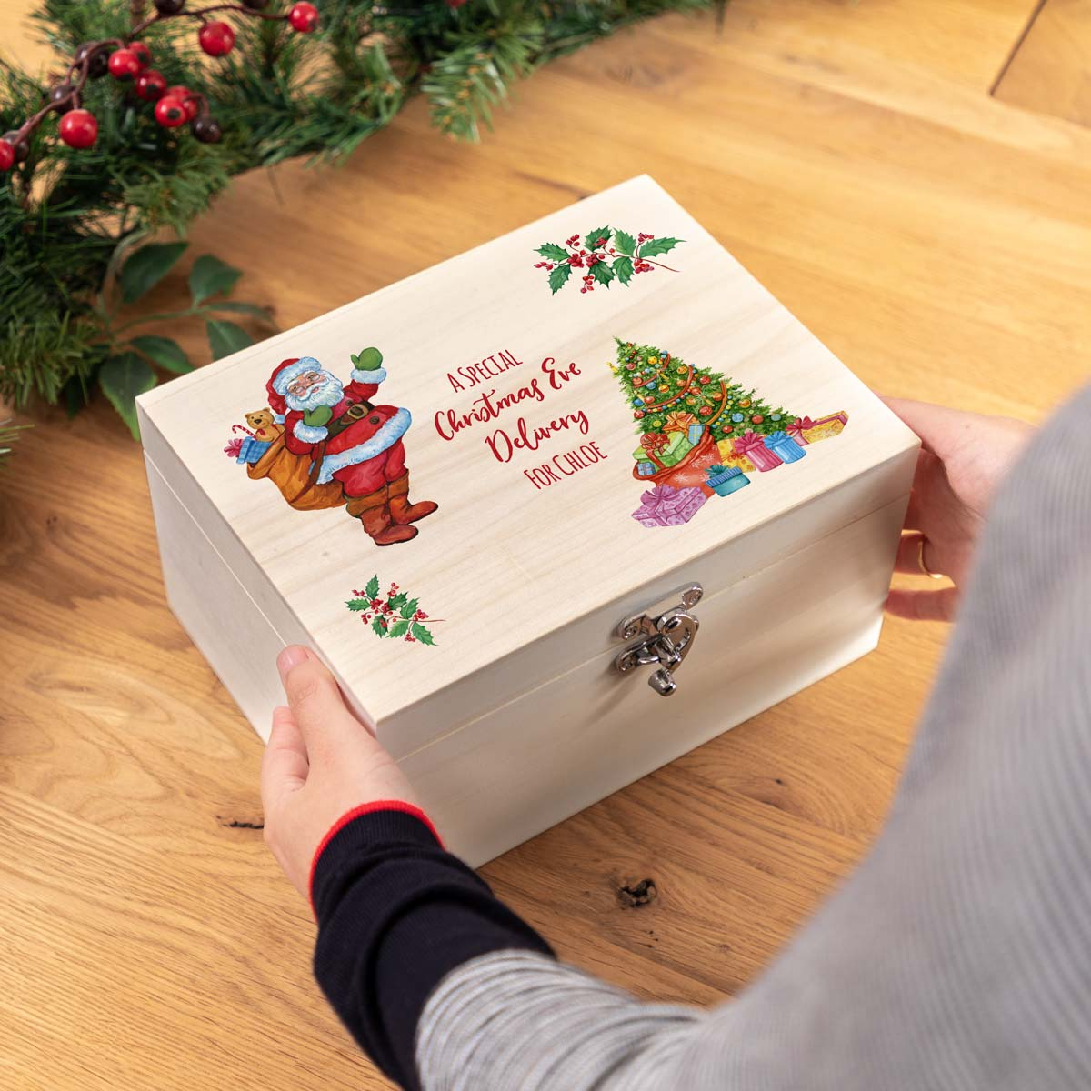 Personalised Santa and Tree Christmas Eve Box