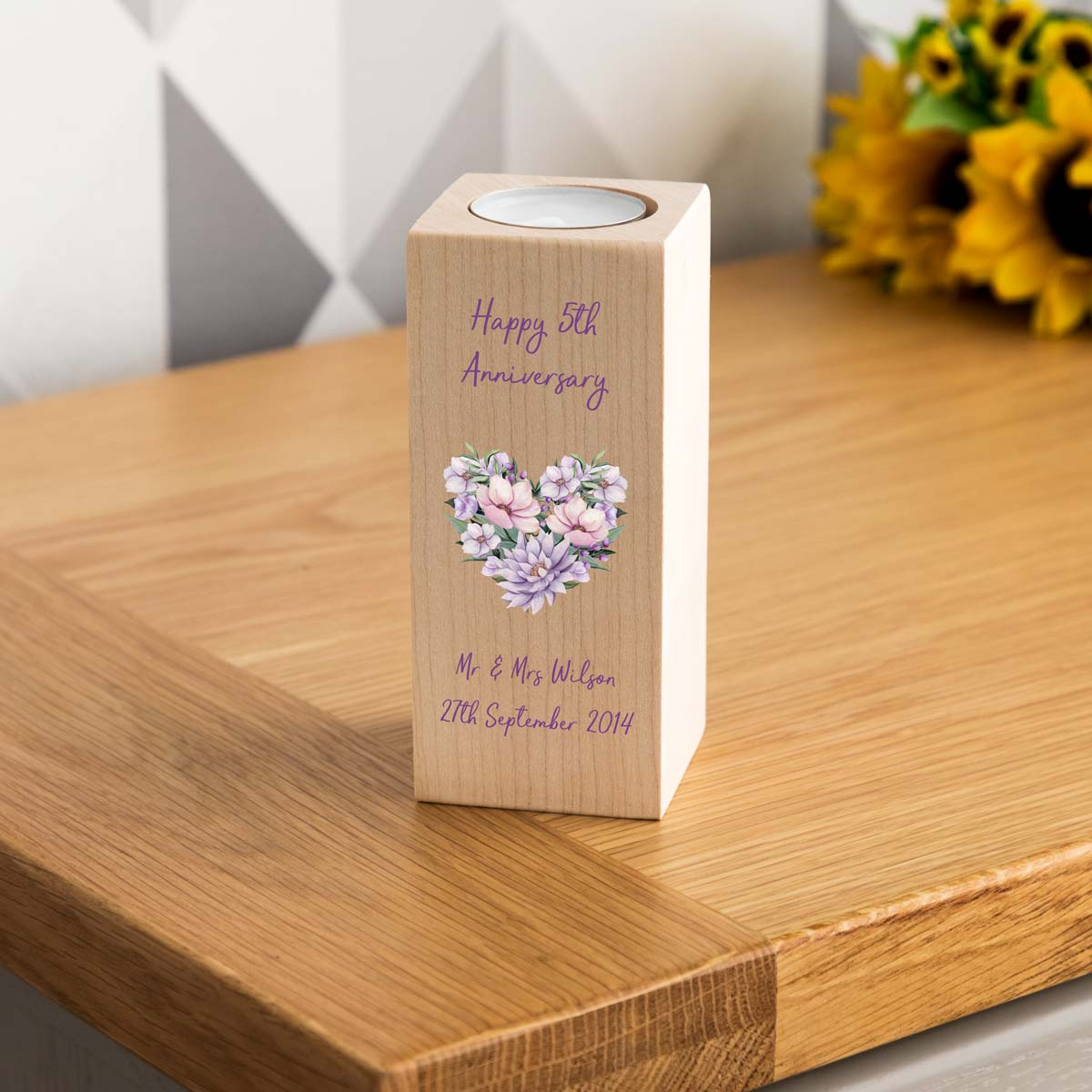 Personalised 5th Anniversary Wooden Candle Holder