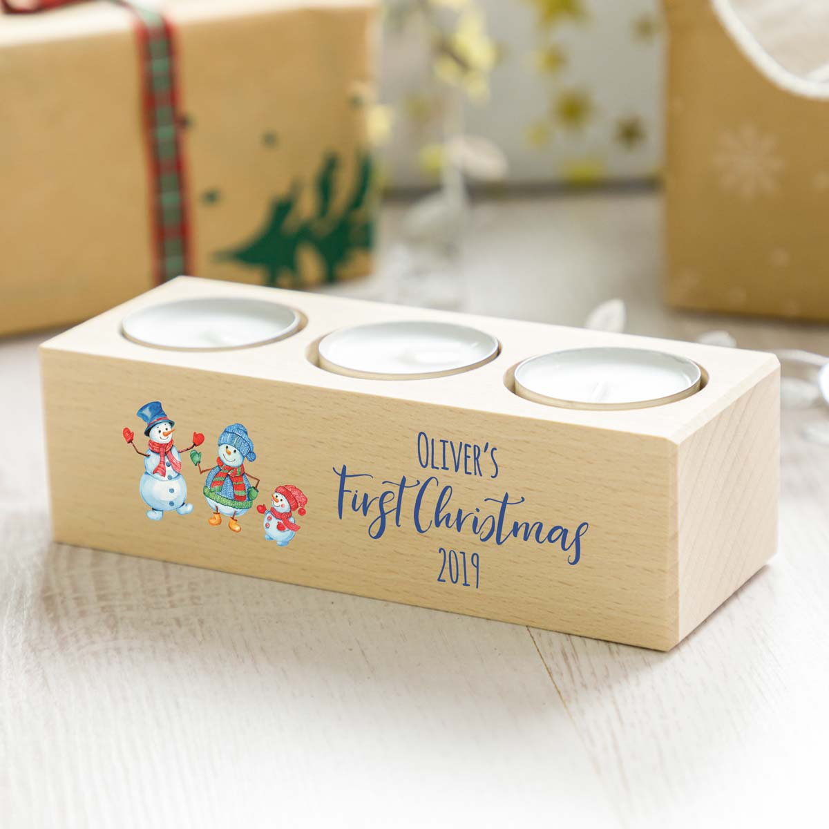 Personalised Baby's First Christmas Candle Holder Gift