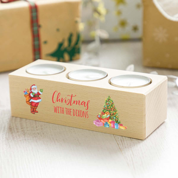 Personalised Christmas With Candle Holder Gift