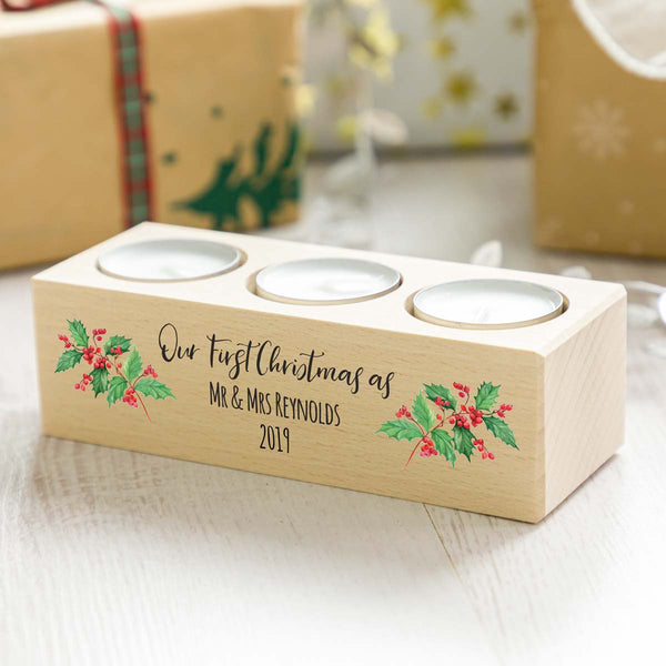 Personalised First Christmas as Mr and Mrs Candle Holder Gift