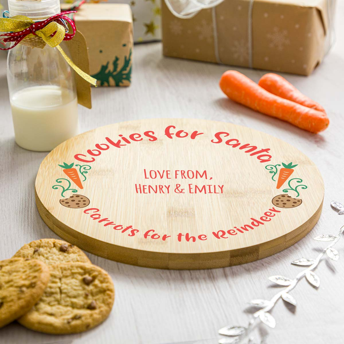 Personalised Cookes and Carrots Christmas Eve Plate