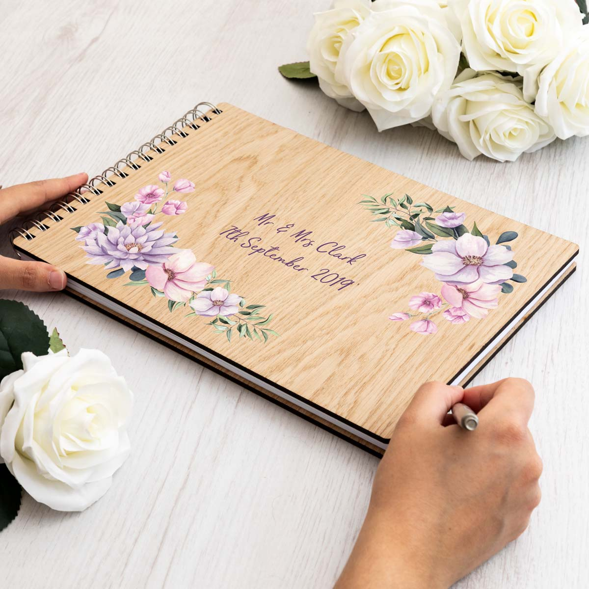 Personalised Floral Corners Wedding Guest Book