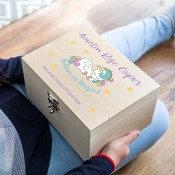 Personalised Unicorn New Baby Keepsake Box