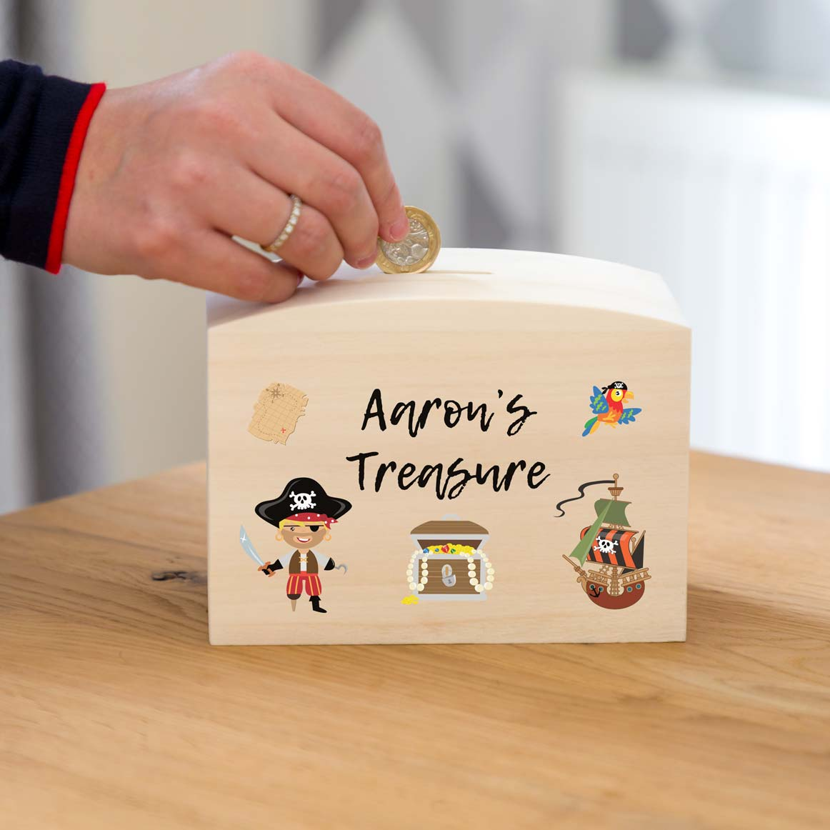 Personalised Pirate Treasure Money Box