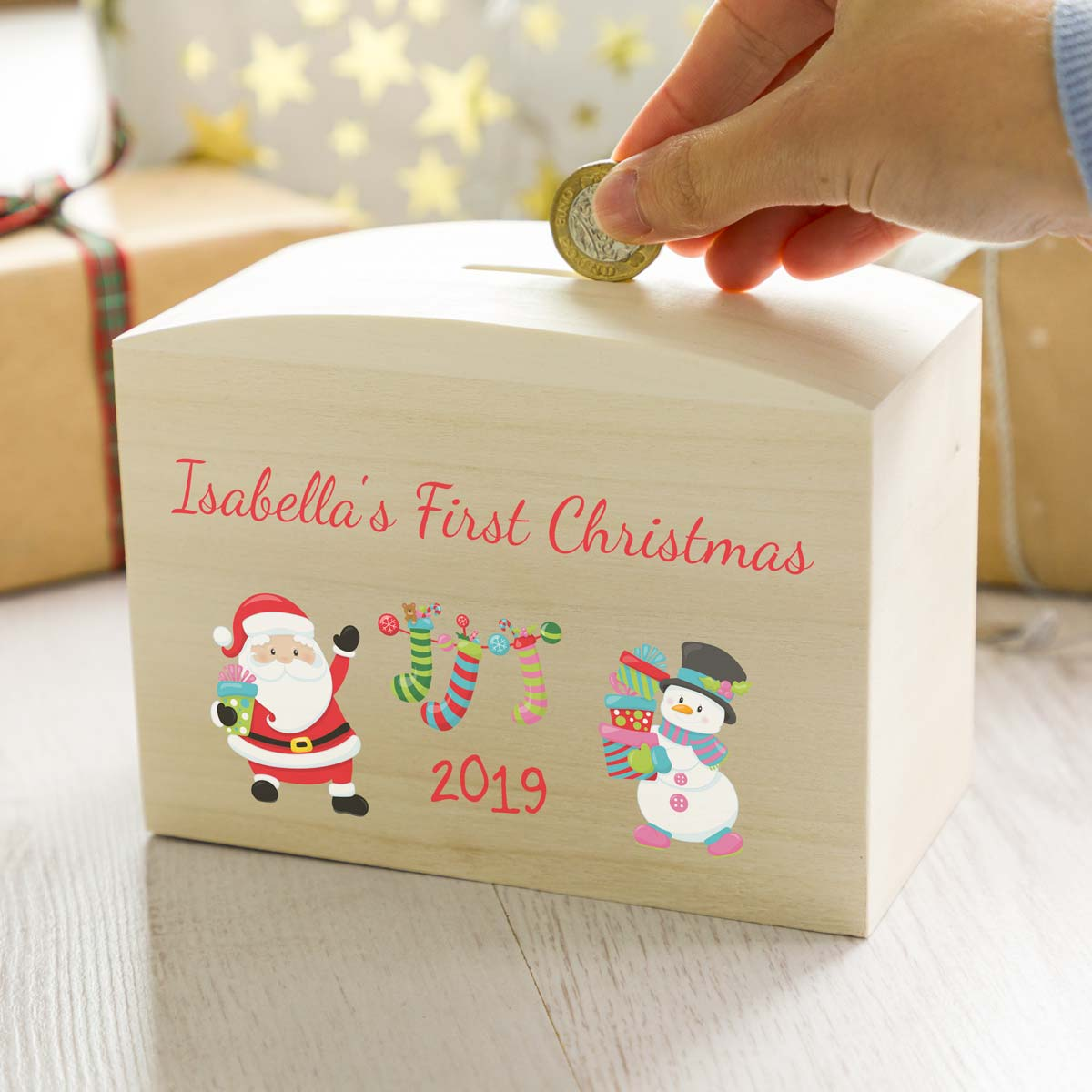 Personalised Babys First Christmas Money Box Gift