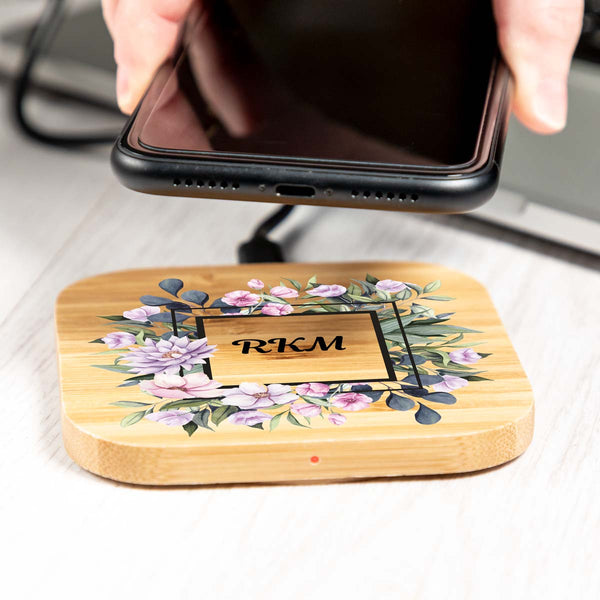 Personalised Floral Monogram Wireless Charger