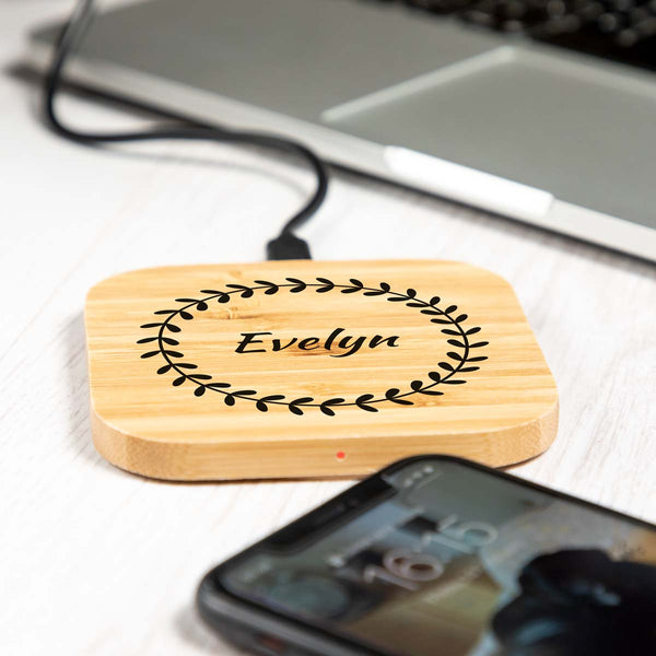 Personalised Botanical Circle Wireless Charger
