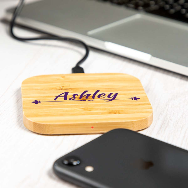 Personalised Bamboo Wireless Charger