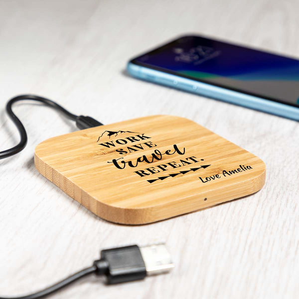 Personalised Work Save Travel Repeat Wireless Charger