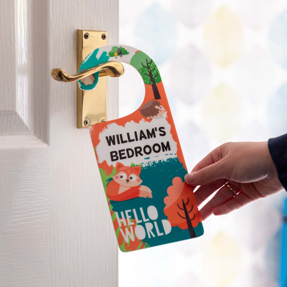 Personalised Woodland Animals Door Hanger Sign
