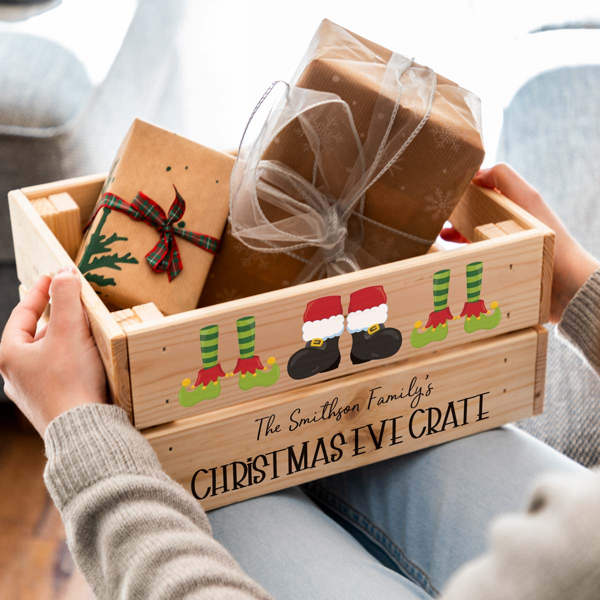 Personalised Christmas Eve Crate Santa and Elves