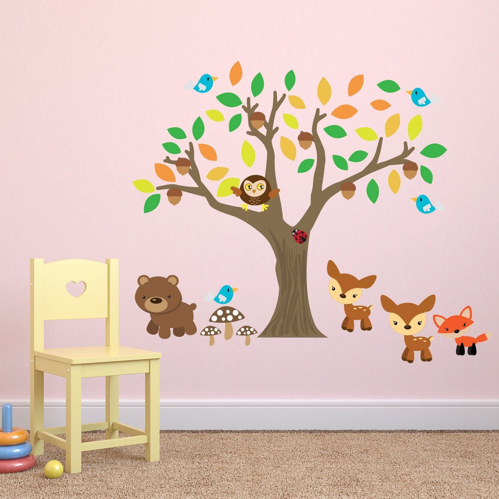 Autumn Tree With Animals Wall Sticker