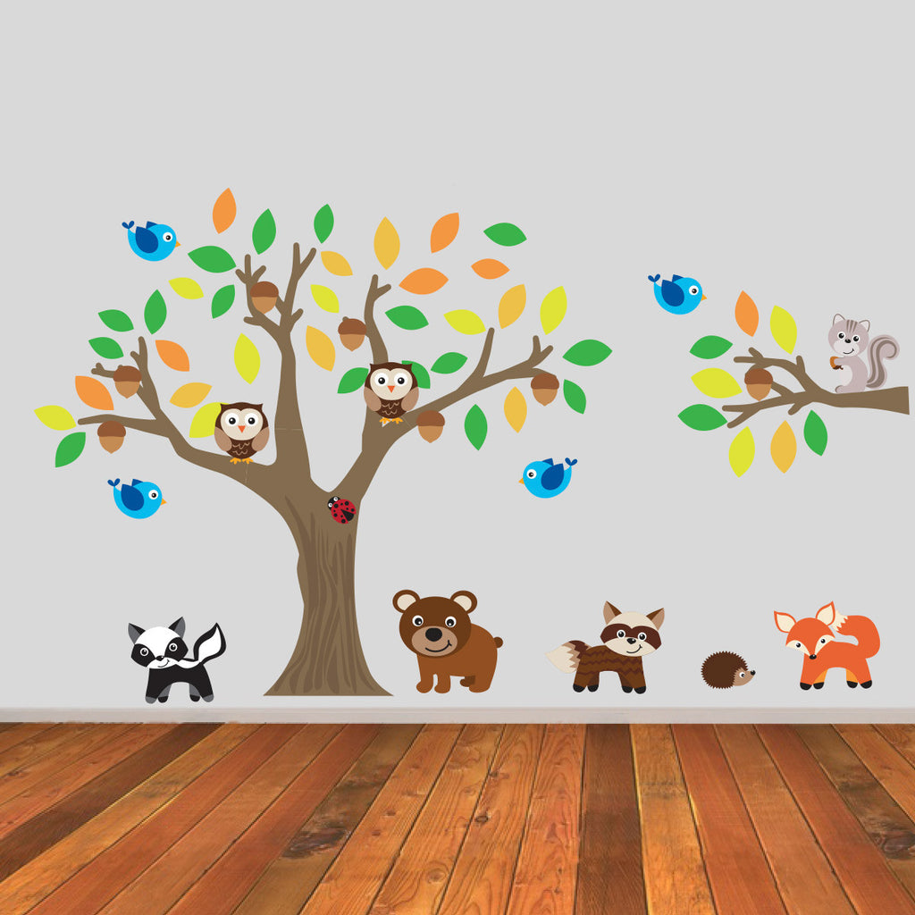 Autumn Tree and Branch With Woodland Animals Wall Sticker