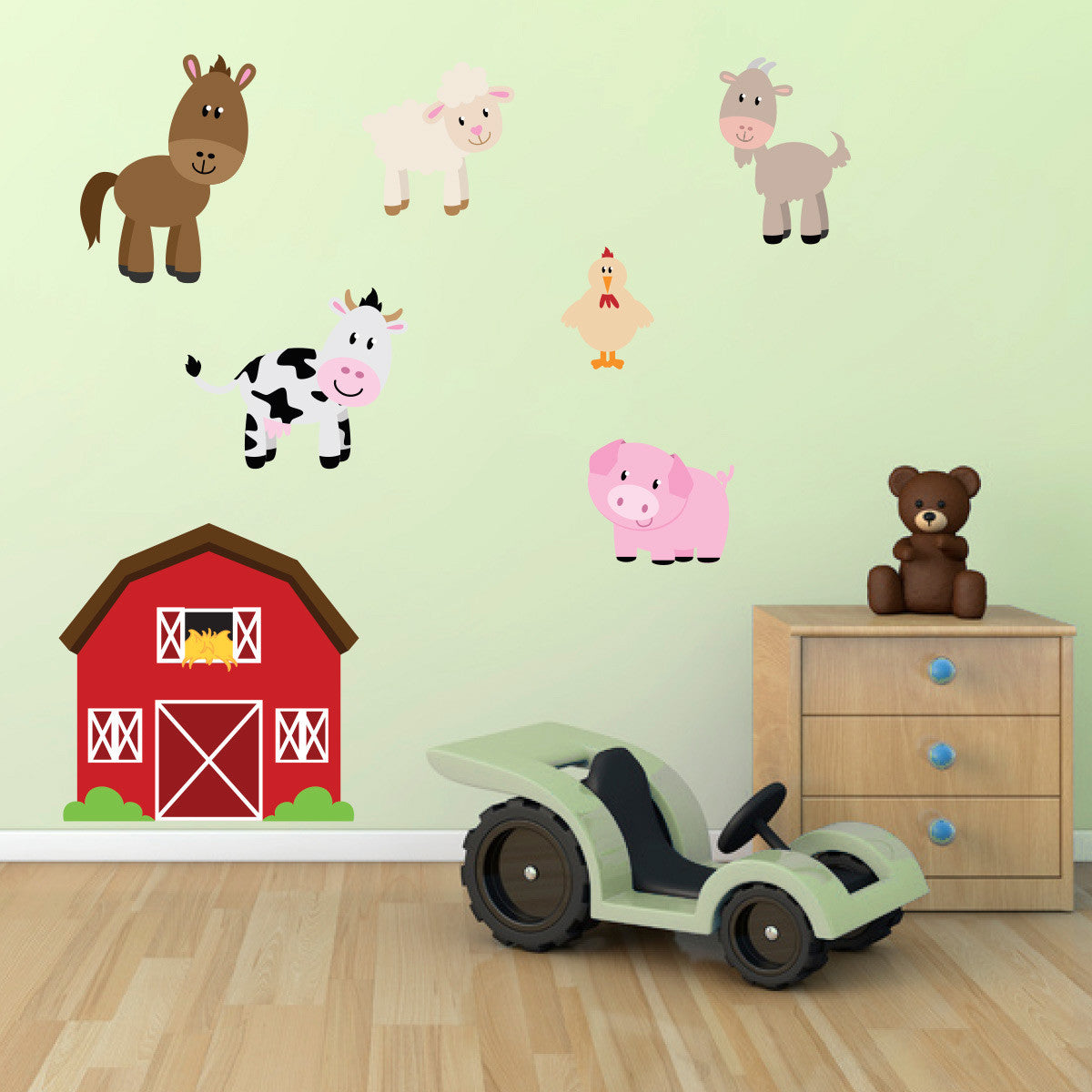 Barn With Farmyard Animal Wall Stickers