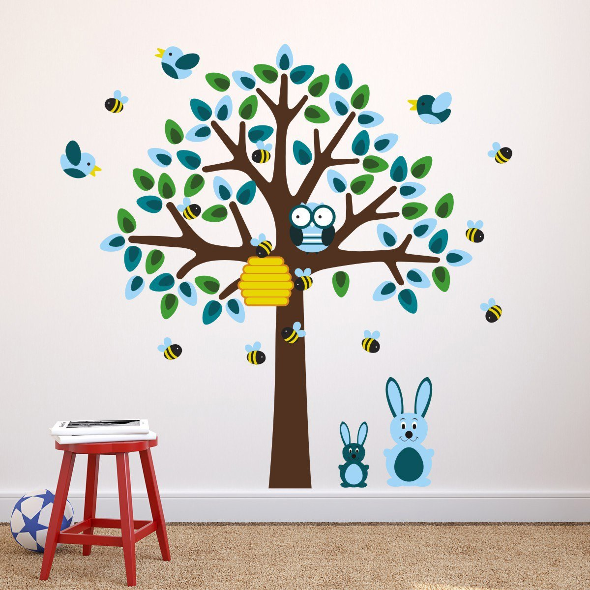 Blue Tree With Bunny Rabbit Wall Stickers