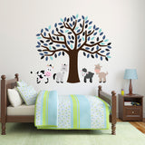 Blue Tree With Farm Animals Wall Decal