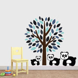 Blue Tree With Panda Wall Decal