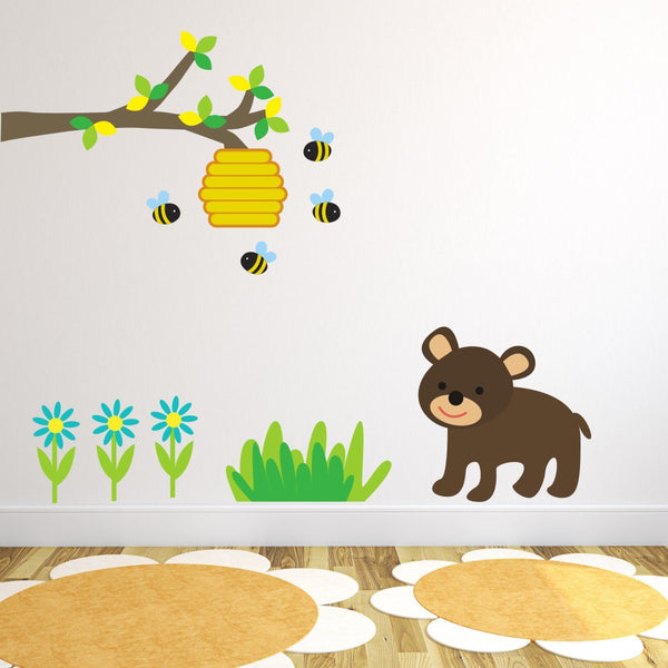Branch With Bear Bees and Flowers Wall Sticker