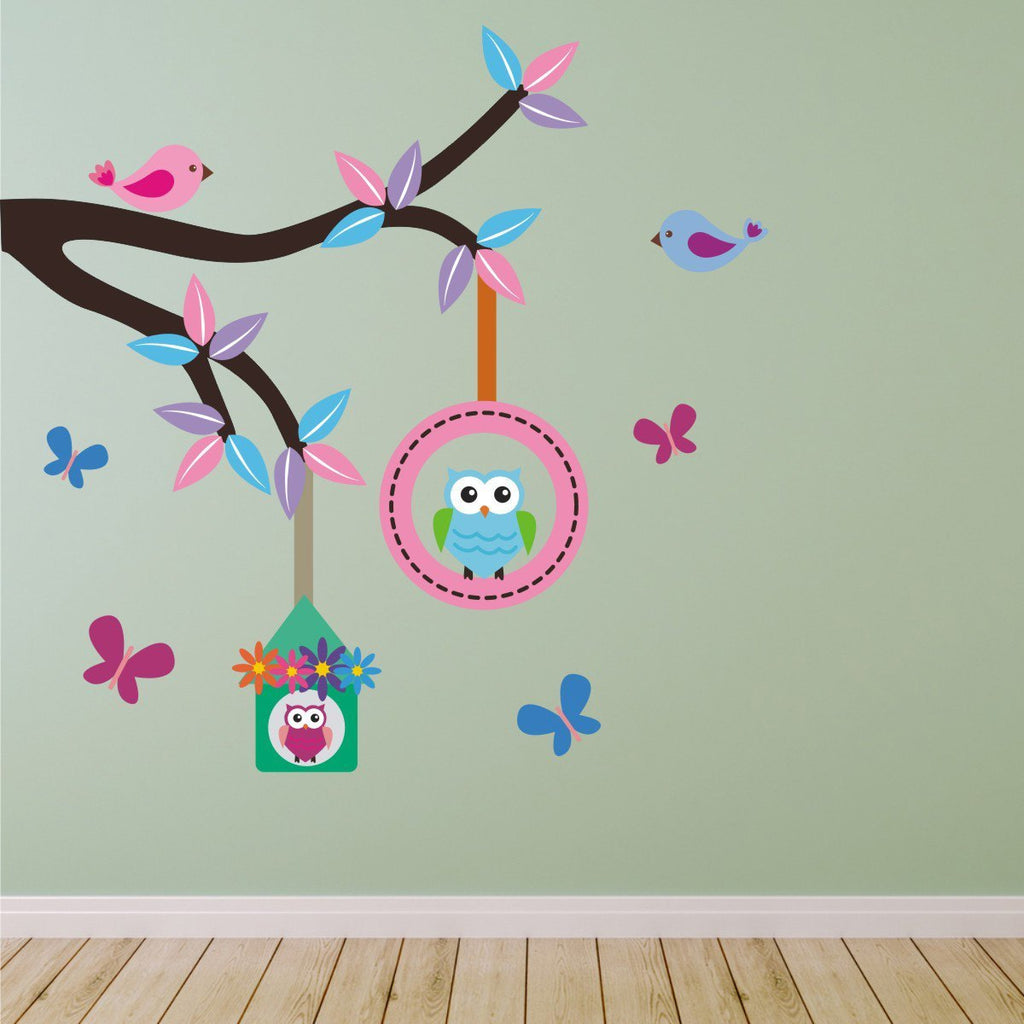 Branch With Owls Birds Butterflies Wall Sticker