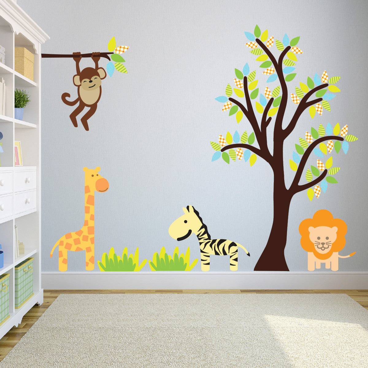 Bright Tree and Branch With Jungle Animals Wall Sticker