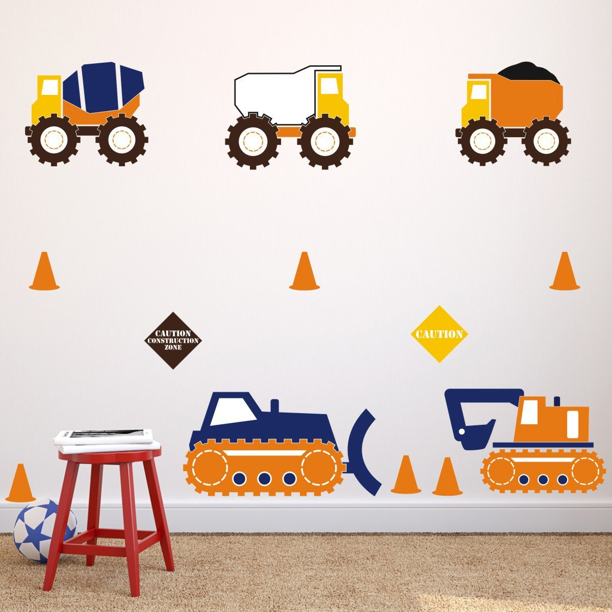 Construction Truck Wall Stickers