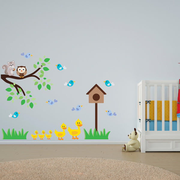 Ducks, Birds and Branch Wall Sticker
