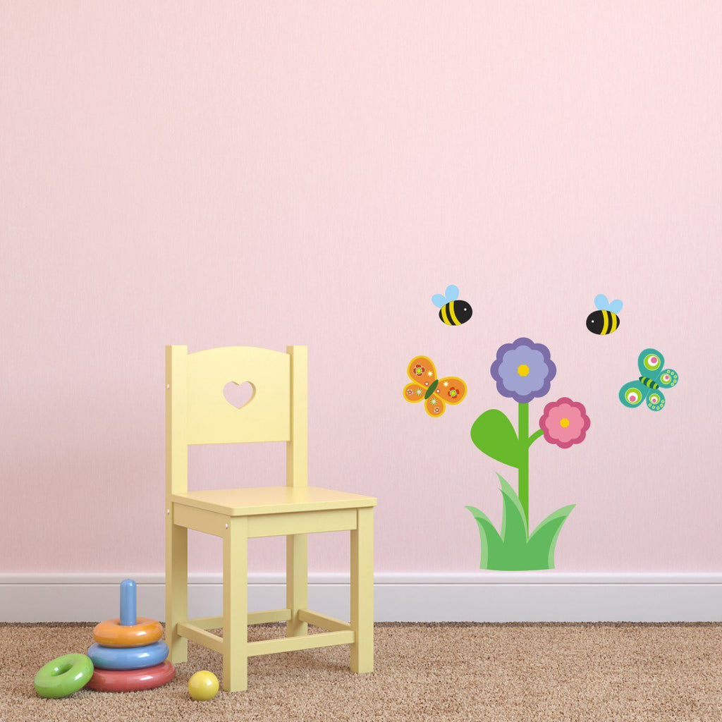 Flower With Bees and Butterflies Wall Sticker