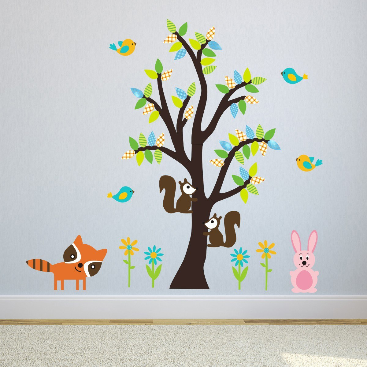 Patterned Forest Tree With Animals Wall Sticker