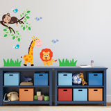 Giraffe Lion and Monkey Branch Wall Decal