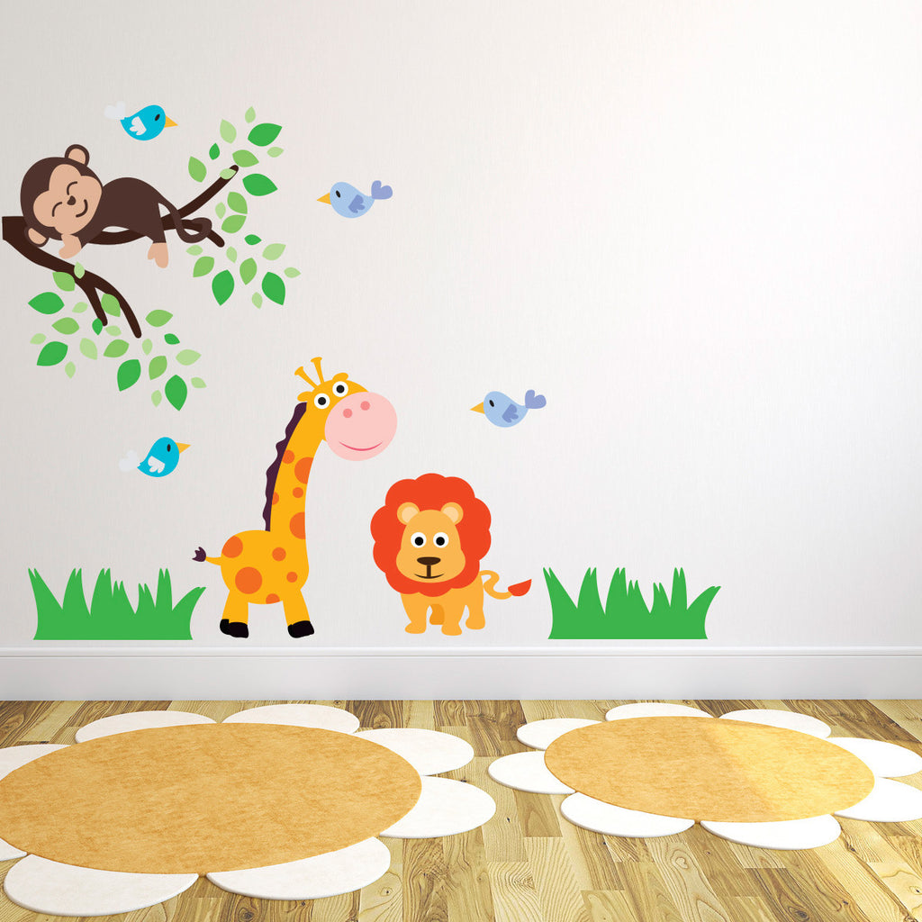 Giraffe Lion and Monkey Branch Wall Sticker