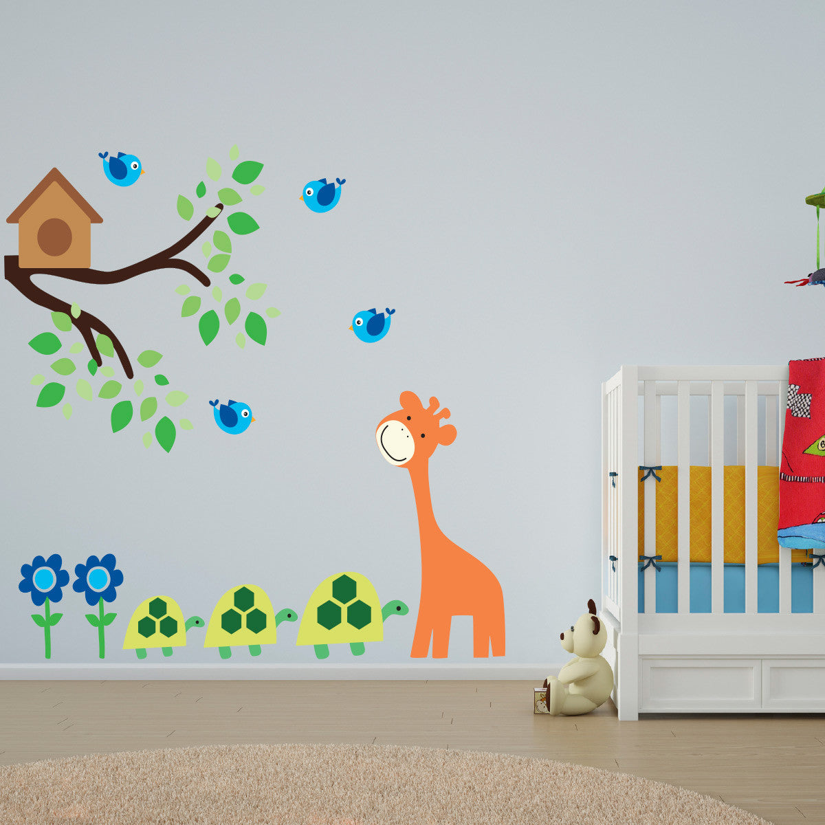 Giraffe and Turtle With Branch Wall Sticker
