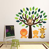 Green Tree With Safari Animals Wall Art