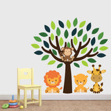 Green Tree With Safari Animals Wall Decal