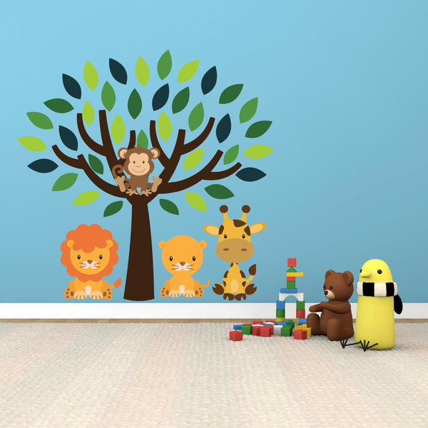 Green Tree With Safari Animals Wall Sticker