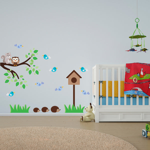 Hedgehog, Birds and Branch Wall Sticker