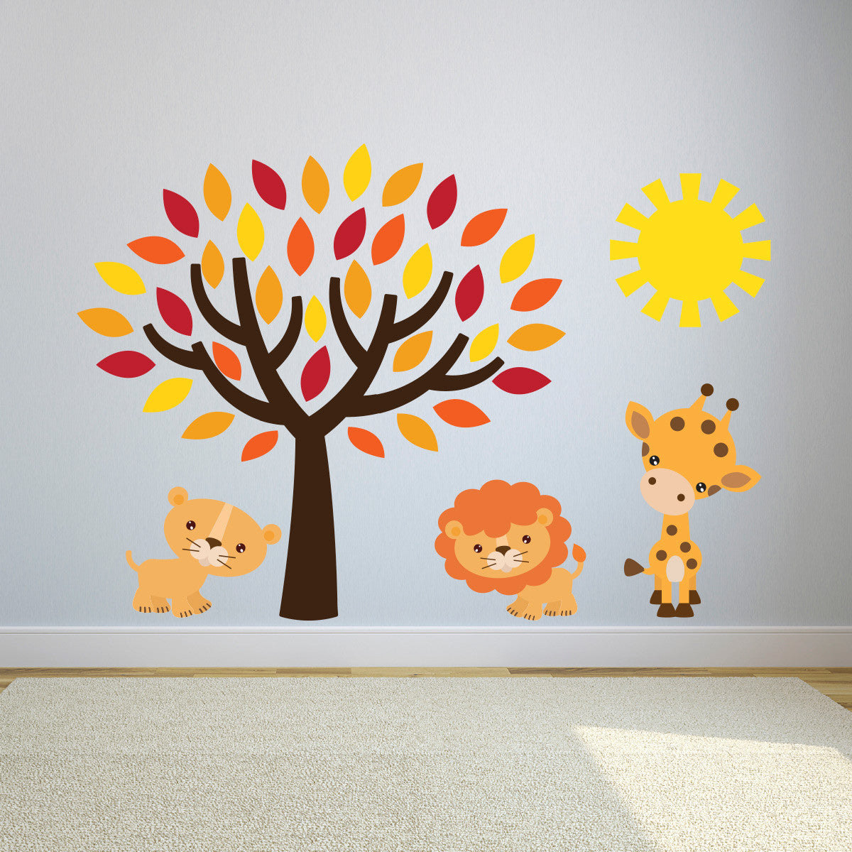 Jungle Animals With Orange Tree Wall Sticker