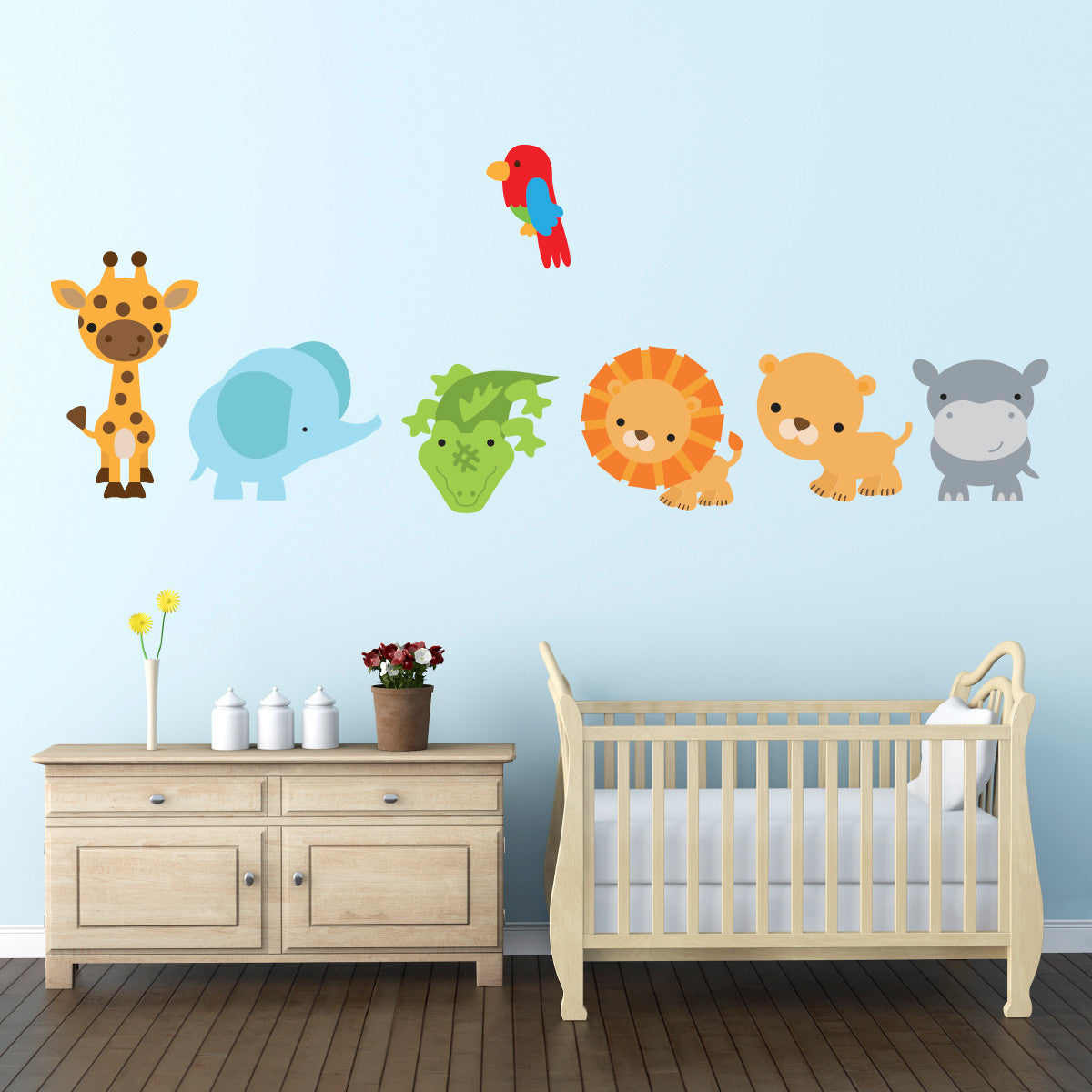 Jungle Animals and Parrot Wall Sticker