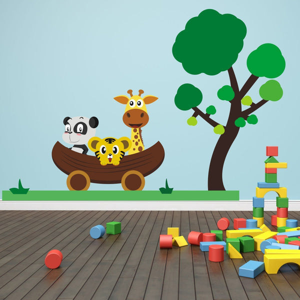 Jungle Animals Car Scene Wall Sticker