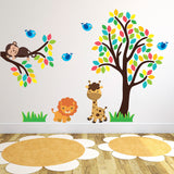 Jungle Animals With Tree and Branch Wall Art
