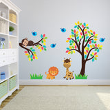 Jungle Animals With Tree and Branch Wall Decal