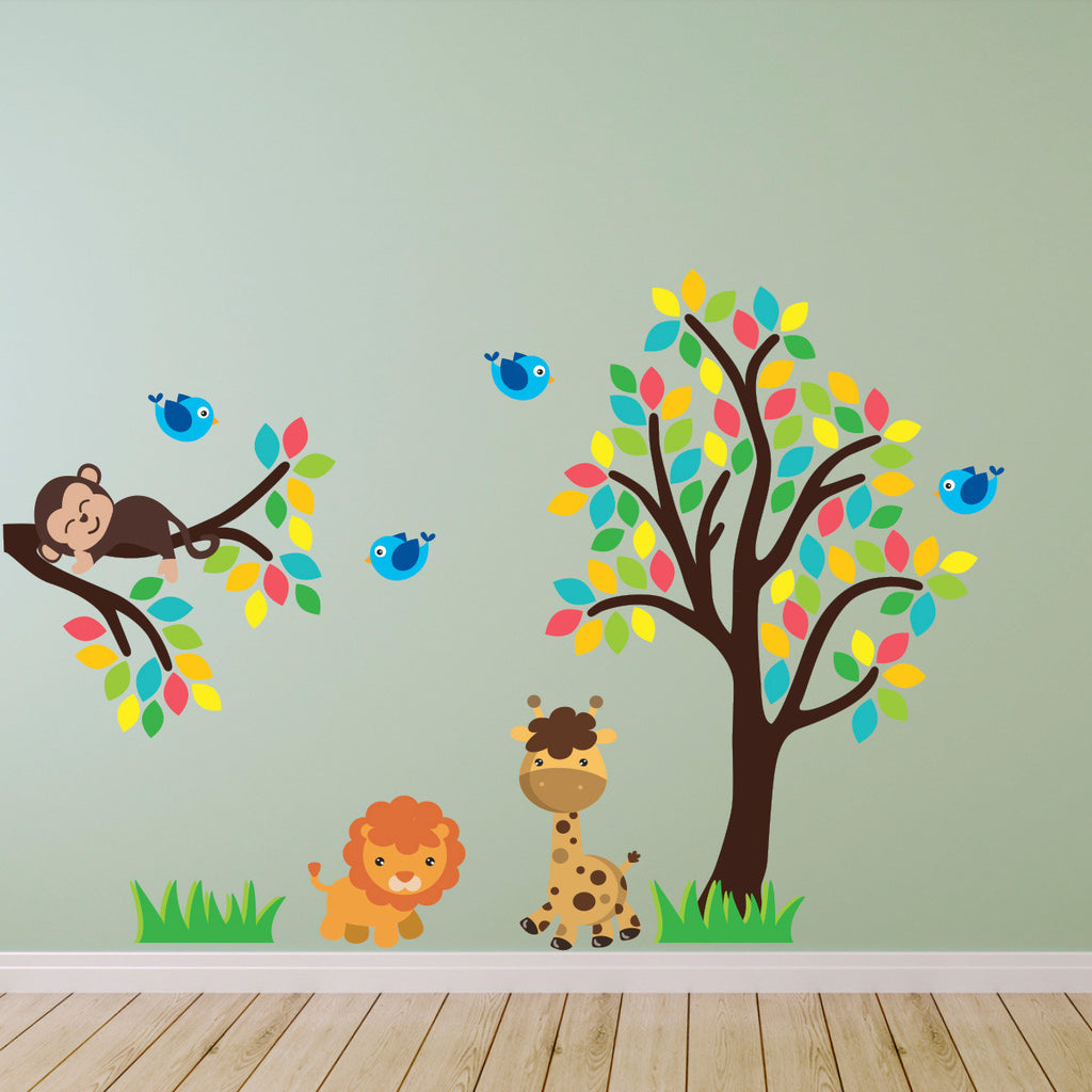 Jungle Animals With Tree and Branch Wall Sticker