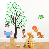 Jungle Animals With Tree Wall Art