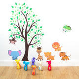 Jungle Animals With Tree Wall Decal