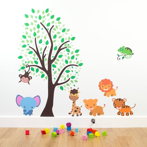 Jungle Animals With Tree Wall Sticker