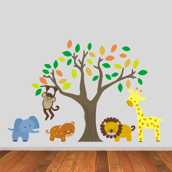 Jungle Animals Tree Wall Sticker